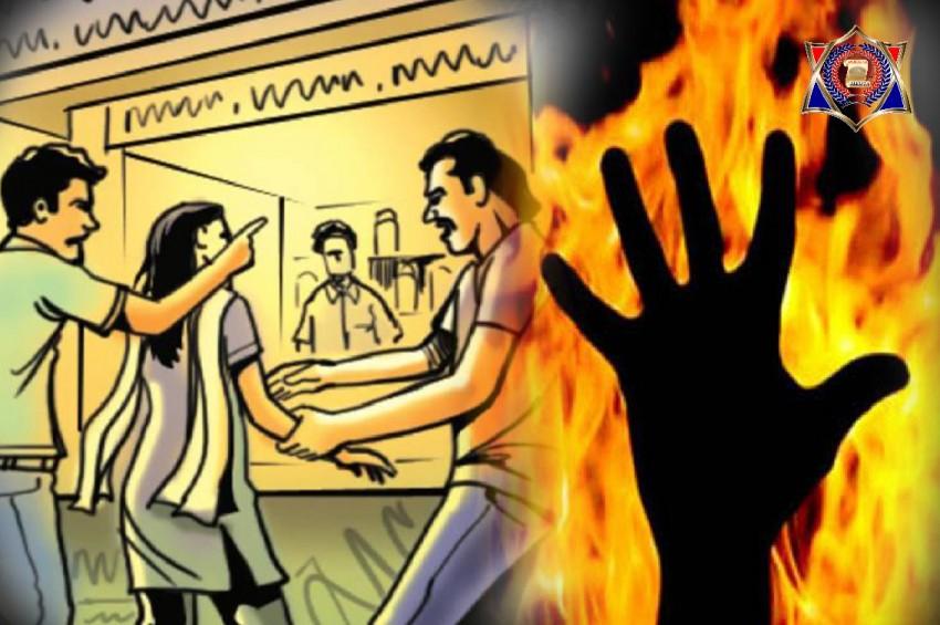 पुलिस की लापरवाही के बाद दबंगो ने युवती को लगाई आग