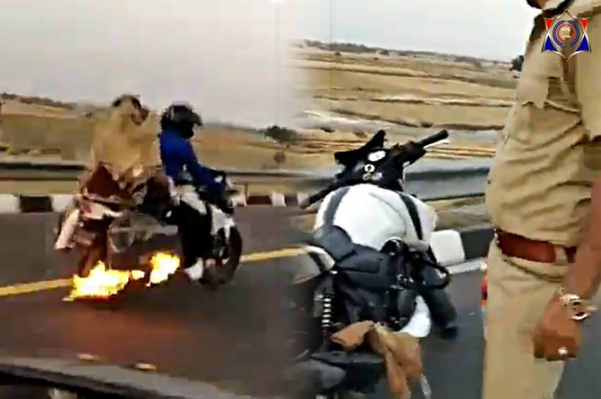 चलती बाइक में लगी आग को देख पुलिस ने 4 किलोमीटर तक पीछा कर आग बुझवाई और बाइक सवार परिवार की जिंदगी बचाई